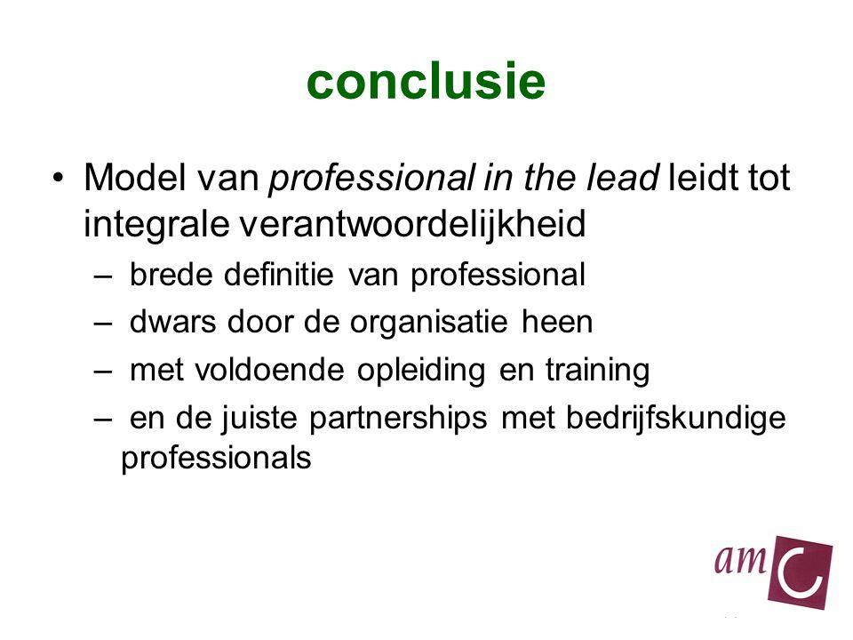 conclusie Model van professional in the lead leidt tot integrale verantwoordelijkheid – brede definitie van professional – dwars door de organisatie heen – met voldoende opleiding en training – en de juiste partnerships met bedrijfskundige professionals