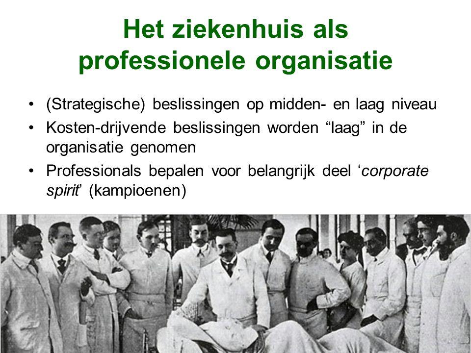Het ziekenhuis als professionele organisatie (Strategische) beslissingen op midden- en laag niveau Kosten-drijvende beslissingen worden laag in de organisatie genomen Professionals bepalen voor belangrijk deel 'corporate spirit' (kampioenen)