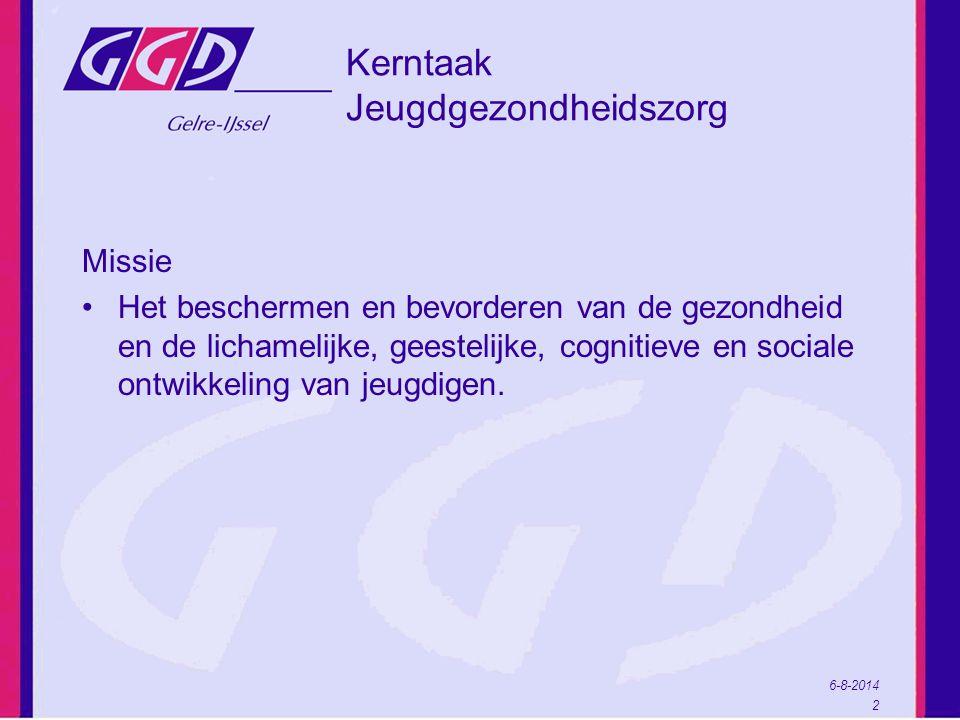 6-8-2014 2 Kerntaak Jeugdgezondheidszorg Missie Het beschermen en bevorderen van de gezondheid en de lichamelijke, geestelijke, cognitieve en sociale ontwikkeling van jeugdigen.