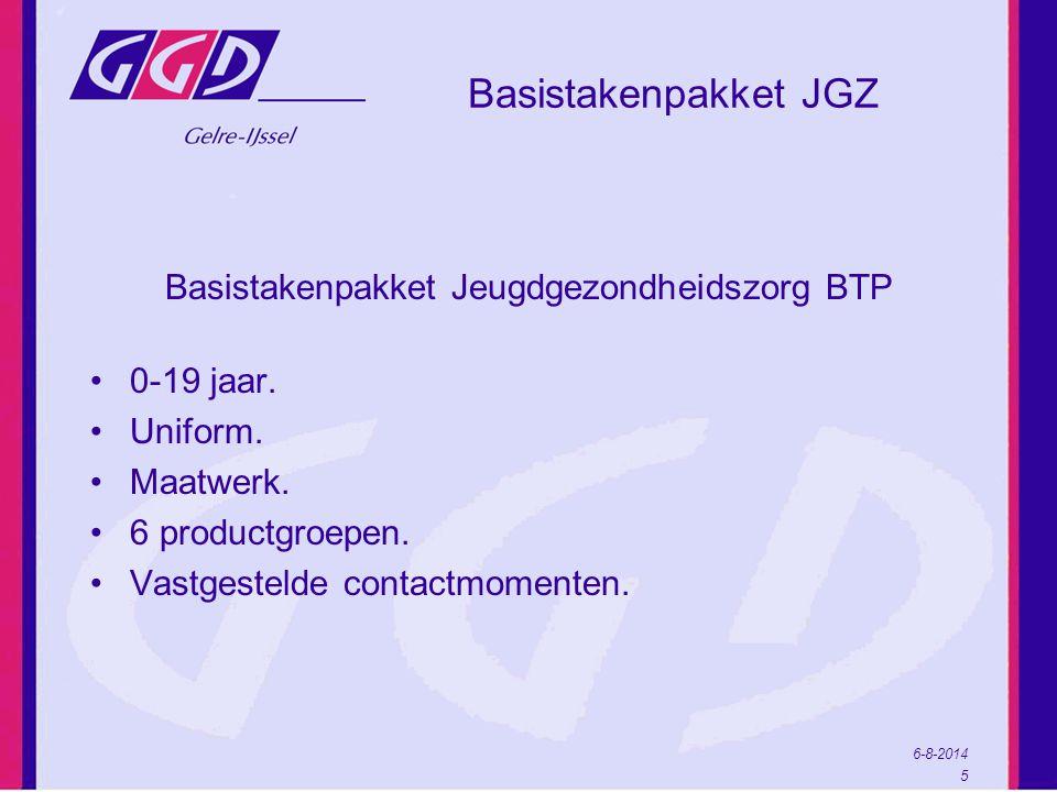 6-8-2014 5 Basistakenpakket JGZ Basistakenpakket Jeugdgezondheidszorg BTP 0-19 jaar.