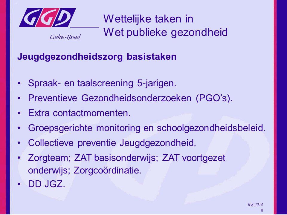 6-8-2014 6 Wettelijke taken in Wet publieke gezondheid Jeugdgezondheidszorg basistaken Spraak- en taalscreening 5-jarigen.