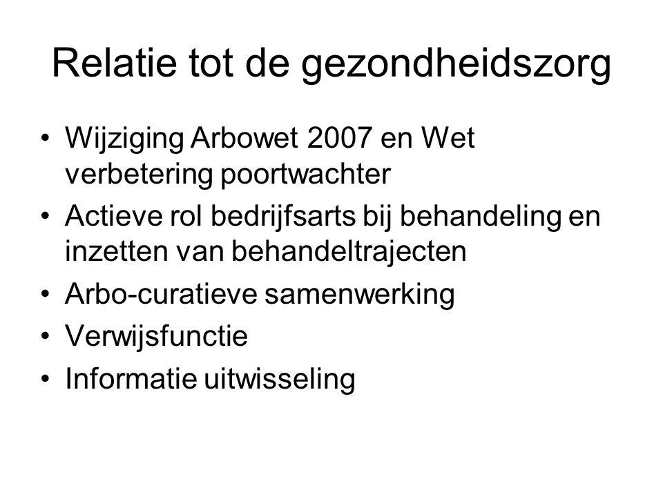 Relatie tot de gezondheidszorg Wijziging Arbowet 2007 en Wet verbetering poortwachter Actieve rol bedrijfsarts bij behandeling en inzetten van behandeltrajecten Arbo-curatieve samenwerking Verwijsfunctie Informatie uitwisseling