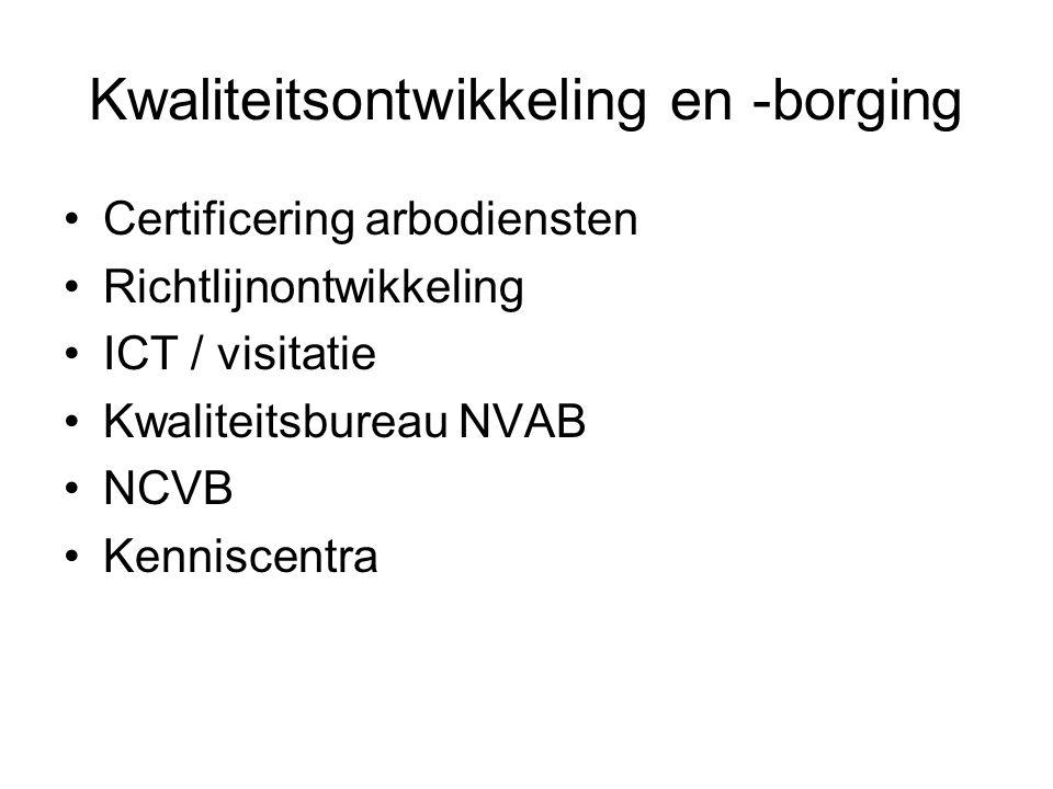 Kwaliteitsontwikkeling en -borging Certificering arbodiensten Richtlijnontwikkeling ICT / visitatie Kwaliteitsbureau NVAB NCVB Kenniscentra