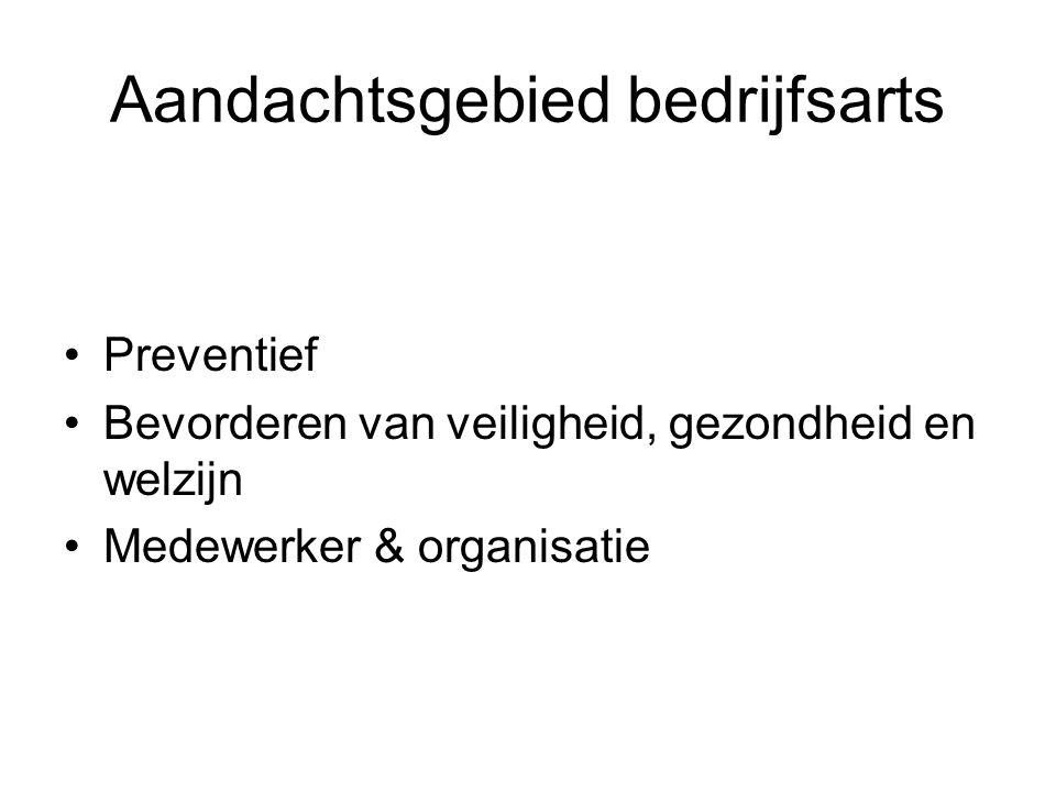 Aandachtsgebied bedrijfsarts Preventief Bevorderen van veiligheid, gezondheid en welzijn Medewerker & organisatie