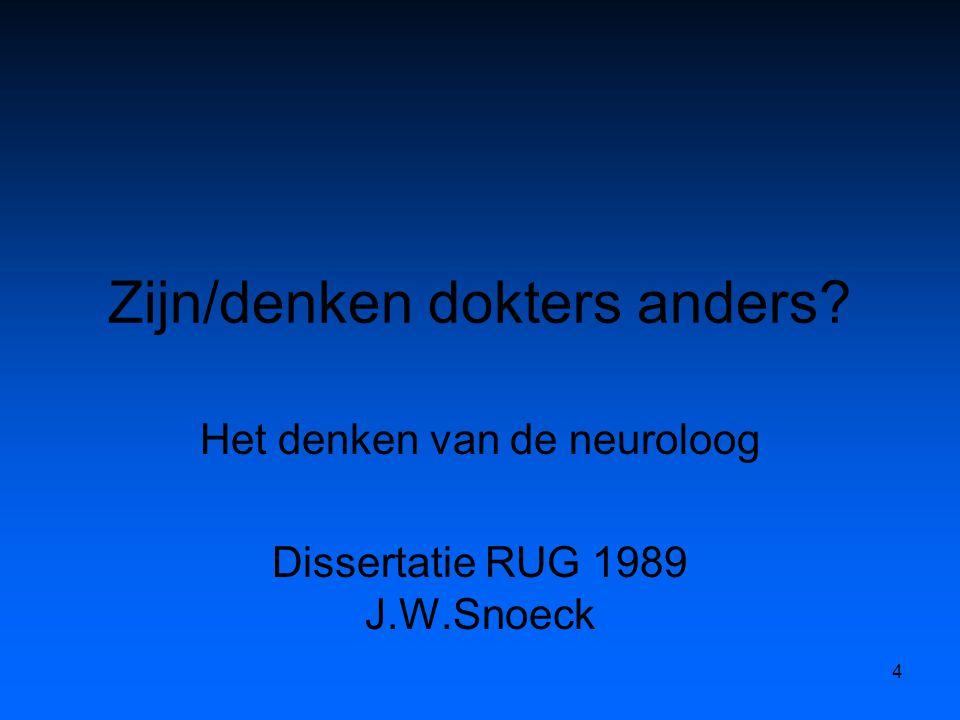 Zijn/denken dokters anders Het denken van de neuroloog Dissertatie RUG 1989 J.W.Snoeck 4