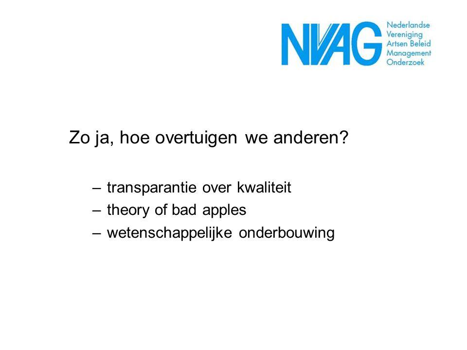 Zo ja, hoe overtuigen we anderen? –transparantie over kwaliteit –theory of bad apples –wetenschappelijke onderbouwing