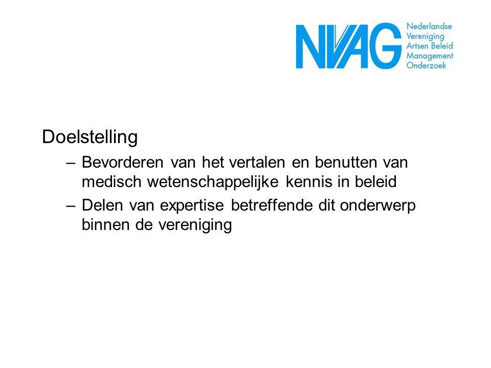 Doelstelling –Bevorderen van het vertalen en benutten van medisch wetenschappelijke kennis in beleid –Delen van expertise betreffende dit onderwerp bi