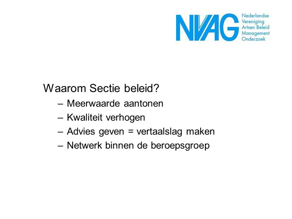 Waarom Sectie beleid? –Meerwaarde aantonen –Kwaliteit verhogen –Advies geven = vertaalslag maken –Netwerk binnen de beroepsgroep