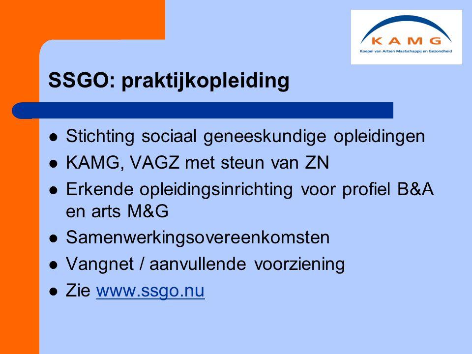 SSGO: praktijkopleiding Stichting sociaal geneeskundige opleidingen KAMG, VAGZ met steun van ZN Erkende opleidingsinrichting voor profiel B&A en arts M&G Samenwerkingsovereenkomsten Vangnet / aanvullende voorziening Zie www.ssgo.nuwww.ssgo.nu