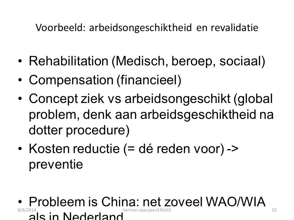 Voorbeeld: arbeidsongeschiktheid en revalidatie Rehabilitation (Medisch, beroep, sociaal) Compensation (financieel) Concept ziek vs arbeidsongeschikt (global problem, denk aan arbeidsgeschiktheid na dotter procedure) Kosten reductie (= dé reden voor) -> preventie Probleem is China: net zoveel WAO/WIA als in Nederland..