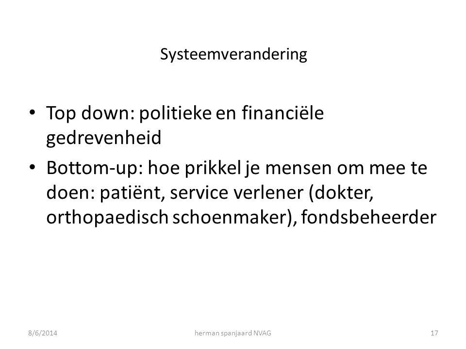 Systeemverandering Top down: politieke en financiële gedrevenheid Bottom-up: hoe prikkel je mensen om mee te doen: patiënt, service verlener (dokter, orthopaedisch schoenmaker), fondsbeheerder 8/6/2014herman spanjaard NVAG17