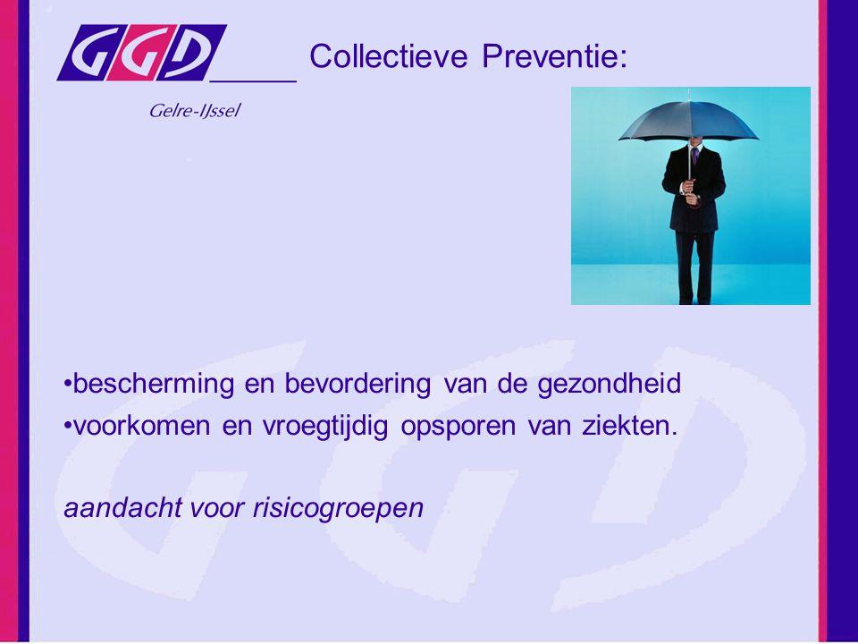 Collectieve Preventie: bescherming en bevordering van de gezondheid voorkomen en vroegtijdig opsporen van ziekten. aandacht voor risicogroepen