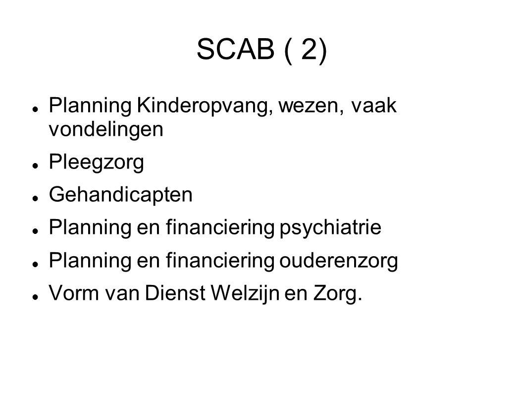 SCAB ( 2) Planning Kinderopvang, wezen, vaak vondelingen Pleegzorg Gehandicapten Planning en financiering psychiatrie Planning en financiering ouderen