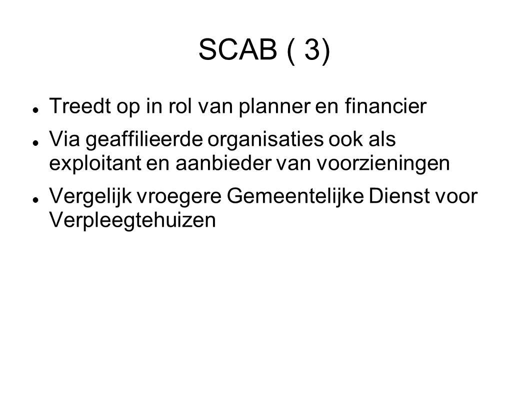 SCAB ( 3) Treedt op in rol van planner en financier Via geaffilieerde organisaties ook als exploitant en aanbieder van voorzieningen Vergelijk vroegere Gemeentelijke Dienst voor Verpleegtehuizen