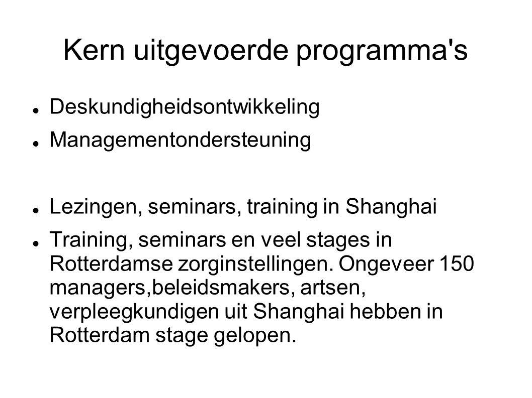 Kern uitgevoerde programma s Deskundigheidsontwikkeling Managementondersteuning Lezingen, seminars, training in Shanghai Training, seminars en veel stages in Rotterdamse zorginstellingen.