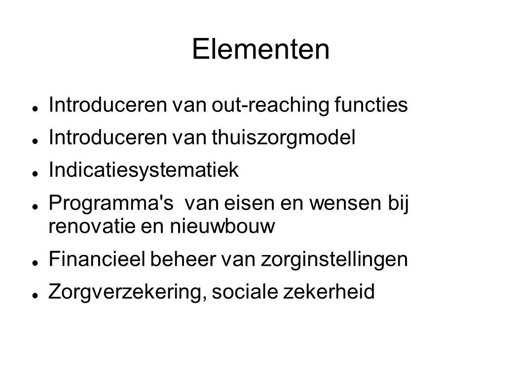 Elementen Introduceren van out-reaching functies Introduceren van thuiszorgmodel Indicatiesystematiek Programma's van eisen en wensen bij renovatie en