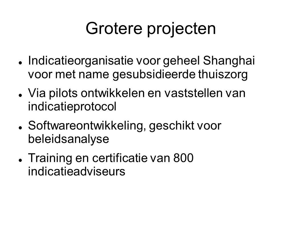 Grotere projecten Indicatieorganisatie voor geheel Shanghai voor met name gesubsidieerde thuiszorg Via pilots ontwikkelen en vaststellen van indicatieprotocol Softwareontwikkeling, geschikt voor beleidsanalyse Training en certificatie van 800 indicatieadviseurs