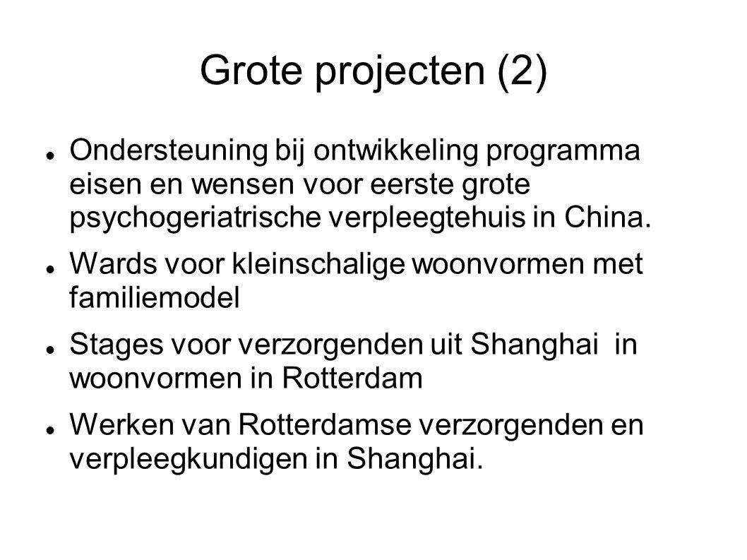 Grote projecten (2) Ondersteuning bij ontwikkeling programma eisen en wensen voor eerste grote psychogeriatrische verpleegtehuis in China.