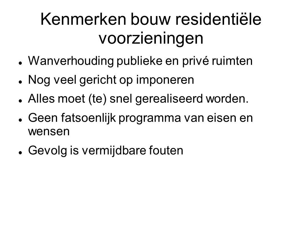 Kenmerken bouw residentiële voorzieningen Wanverhouding publieke en privé ruimten Nog veel gericht op imponeren Alles moet (te) snel gerealiseerd worden.