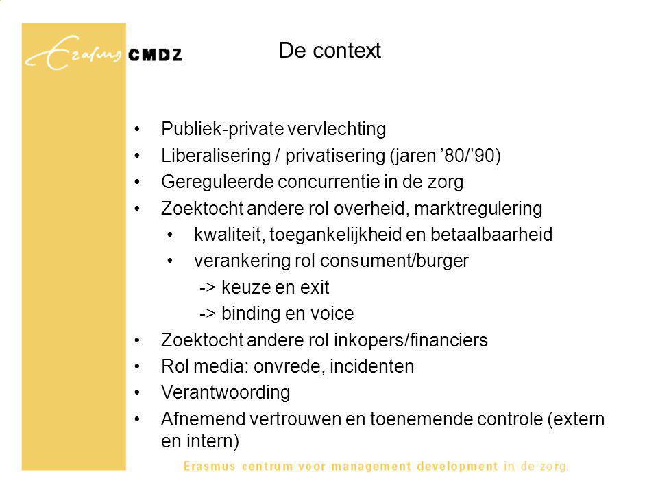 De context Publiek-private vervlechting Liberalisering / privatisering (jaren '80/'90) Gereguleerde concurrentie in de zorg Zoektocht andere rol overh