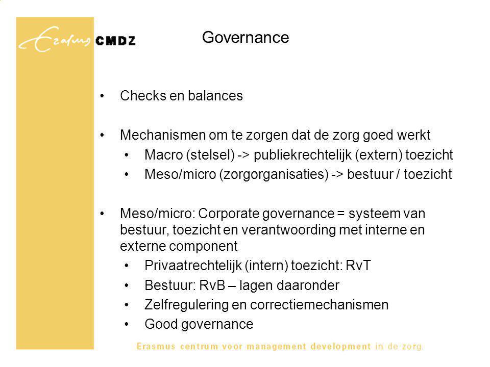 Governance Checks en balances Mechanismen om te zorgen dat de zorg goed werkt Macro (stelsel) -> publiekrechtelijk (extern) toezicht Meso/micro (zorgorganisaties) -> bestuur / toezicht Meso/micro: Corporate governance = systeem van bestuur, toezicht en verantwoording met interne en externe component Privaatrechtelijk (intern) toezicht: RvT Bestuur: RvB – lagen daaronder Zelfregulering en correctiemechanismen Good governance