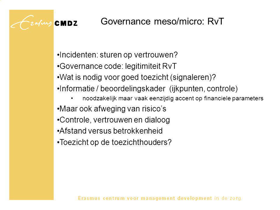 Governance meso/micro: RvT Incidenten: sturen op vertrouwen? Governance code: legitimiteit RvT Wat is nodig voor goed toezicht (signaleren)? Informati