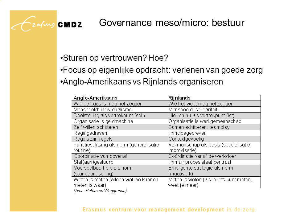 Governance meso/micro: bestuur Sturen op vertrouwen? Hoe? Focus op eigenlijke opdracht: verlenen van goede zorg Anglo-Amerikaans vs Rijnlands organise