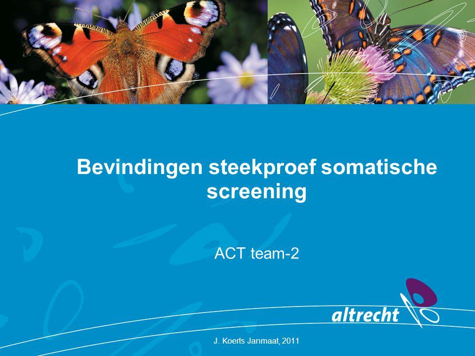 Bevindingen steekproef somatische screening ACT team-2 J. Koerts Janmaat, 2011