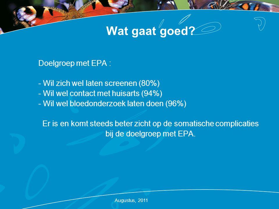 Wat gaat goed? Doelgroep met EPA : - Wil zich wel laten screenen (80%) - Wil wel contact met huisarts (94%) - Wil wel bloedonderzoek laten doen (96%)