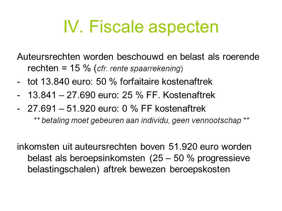IV. Fiscale aspecten Auteursrechten worden beschouwd en belast als roerende rechten = 15 % ( cfr.