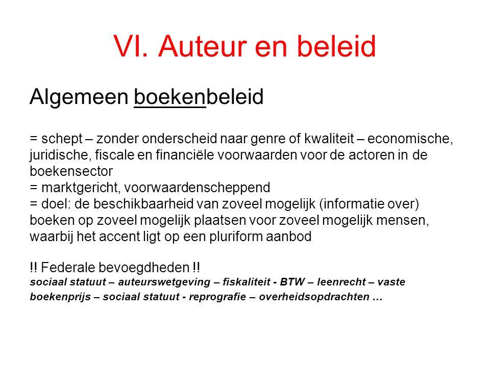VI. Auteur en beleid Algemeen boekenbeleid = schept – zonder onderscheid naar genre of kwaliteit – economische, juridische, fiscale en financiële voor