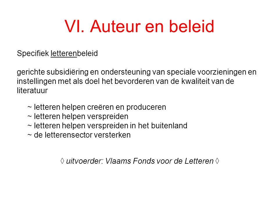 VI. Auteur en beleid Specifiek letterenbeleid gerichte subsidiëring en ondersteuning van speciale voorzieningen en instellingen met als doel het bevor
