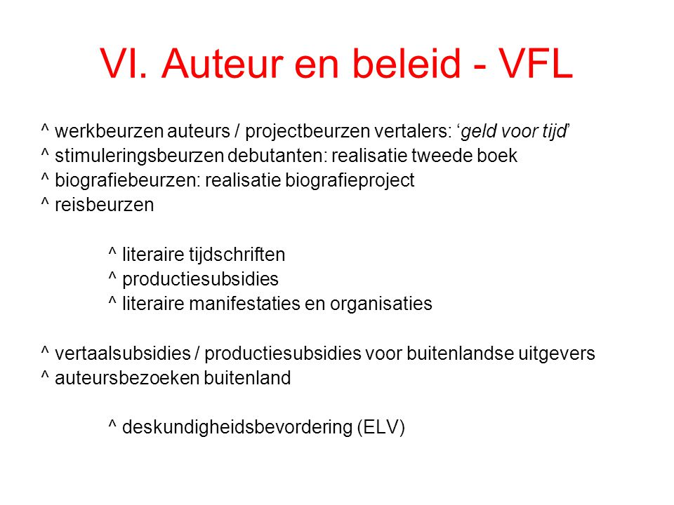 VI. Auteur en beleid - VFL ^ werkbeurzen auteurs / projectbeurzen vertalers: 'geld voor tijd' ^ stimuleringsbeurzen debutanten: realisatie tweede boek