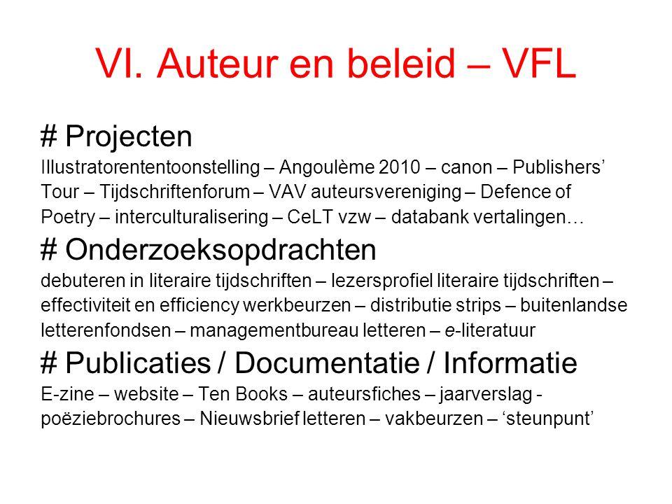 VI. Auteur en beleid – VFL # Projecten Illustratorententoonstelling – Angoulème 2010 – canon – Publishers' Tour – Tijdschriftenforum – VAV auteursvere