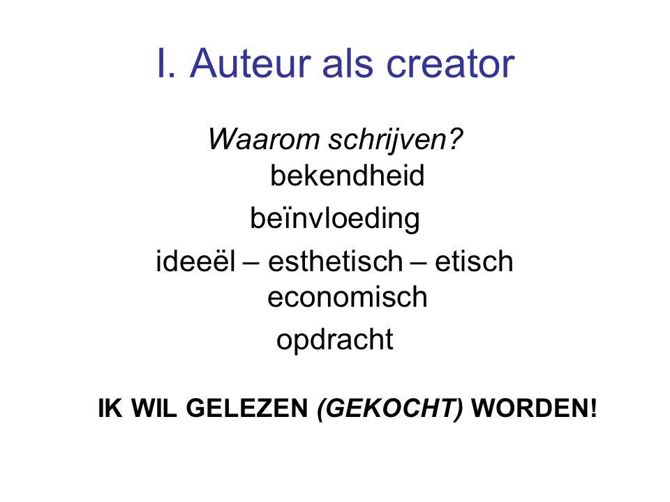 I. Auteur als creator Waarom schrijven.