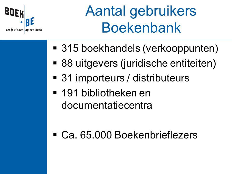 Aantal gebruikers Boekenbank  315 boekhandels (verkooppunten)  88 uitgevers (juridische entiteiten)  31 importeurs / distributeurs  191 bibliothek