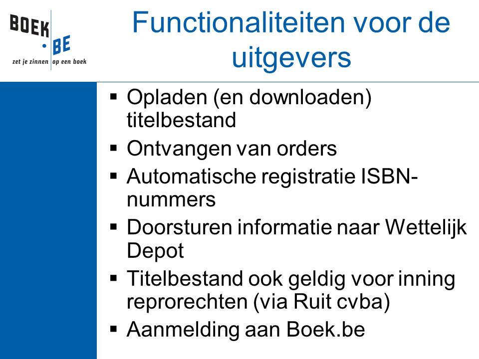 Functionaliteiten voor de uitgevers  Opladen (en downloaden) titelbestand  Ontvangen van orders  Automatische registratie ISBN- nummers  Doorsture