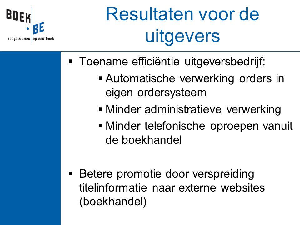 Resultaten voor de uitgevers  Toename efficiëntie uitgeversbedrijf:  Automatische verwerking orders in eigen ordersysteem  Minder administratieve v