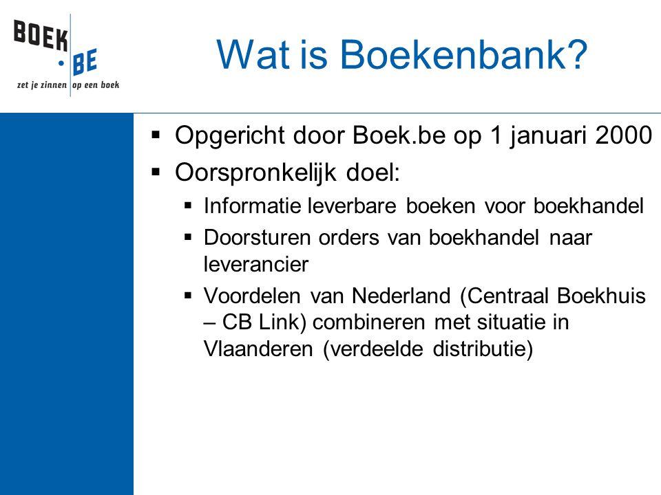 Wat is Boekenbank?  Opgericht door Boek.be op 1 januari 2000  Oorspronkelijk doel:  Informatie leverbare boeken voor boekhandel  Doorsturen orders