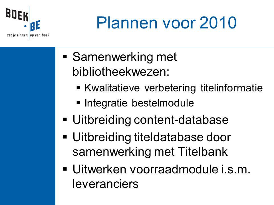 Plannen voor 2010  Samenwerking met bibliotheekwezen:  Kwalitatieve verbetering titelinformatie  Integratie bestelmodule  Uitbreiding content-database  Uitbreiding titeldatabase door samenwerking met Titelbank  Uitwerken voorraadmodule i.s.m.