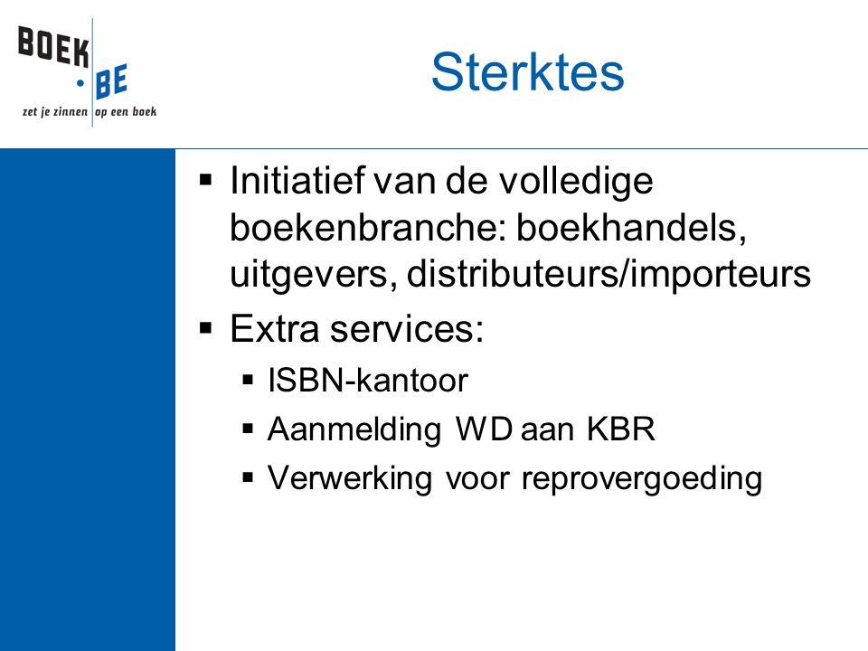 Sterktes  Initiatief van de volledige boekenbranche: boekhandels, uitgevers, distributeurs/importeurs  Extra services:  ISBN-kantoor  Aanmelding WD aan KBR  Verwerking voor reprovergoeding