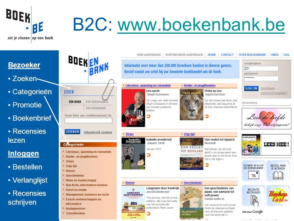 B2C: www.boekenbank.bewww.boekenbank.be Bezoeker Zoeken Categorieën Promotie Boekenbrief Recensies lezen Inloggen Bestellen Verlanglijst Recensies sch