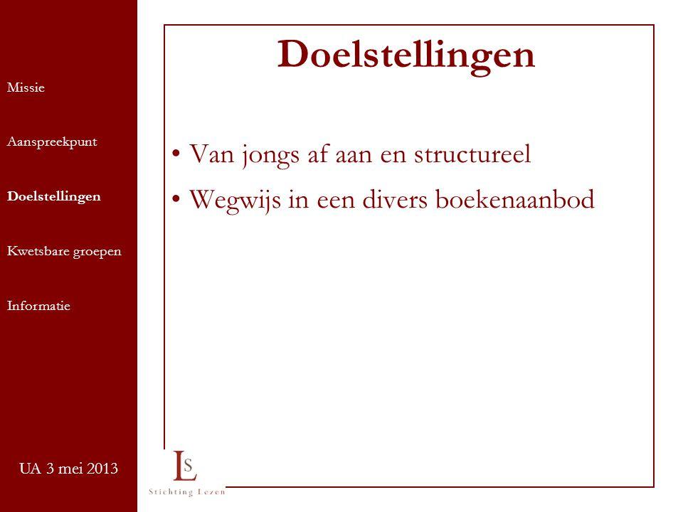 UA 3 mei 2013 Van jongs af aan en structureel Wegwijs in een divers boekenaanbod Doelstellingen Missie Aanspreekpunt Doelstellingen Kwetsbare groepen Informatie