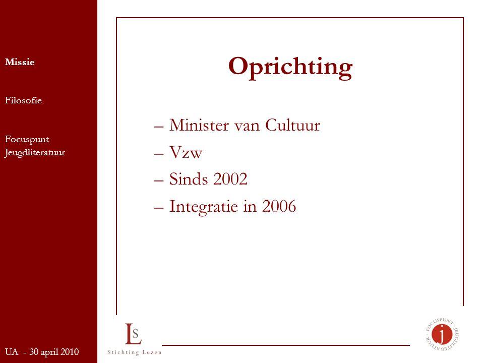 Oprichting –Minister van Cultuur –Vzw –Sinds 2002 –Integratie in 2006 Missie Filosofie Focuspunt Jeugdliteratuur UA - 30 april 2010