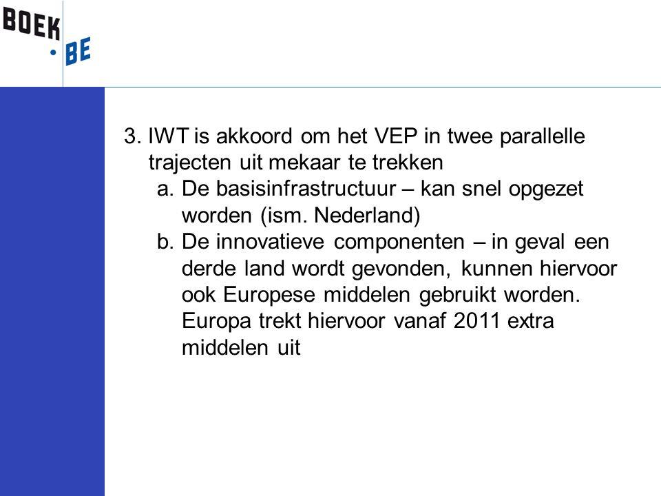 3. IWT is akkoord om het VEP in twee parallelle trajecten uit mekaar te trekken a.De basisinfrastructuur – kan snel opgezet worden (ism. Nederland) b.