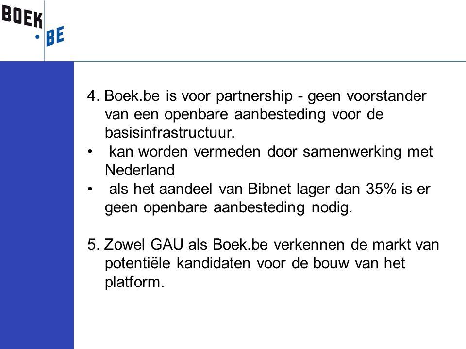 4. Boek.be is voor partnership - geen voorstander van een openbare aanbesteding voor de basisinfrastructuur. kan worden vermeden door samenwerking met