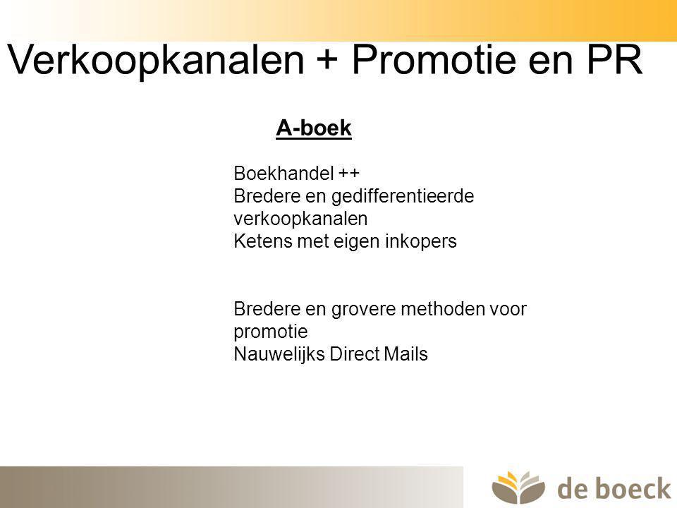 40 Verkoopkanalen + Promotie en PR Boekhandel ++ Bredere en gedifferentieerde verkoopkanalen Ketens met eigen inkopers Bredere en grovere methoden voo