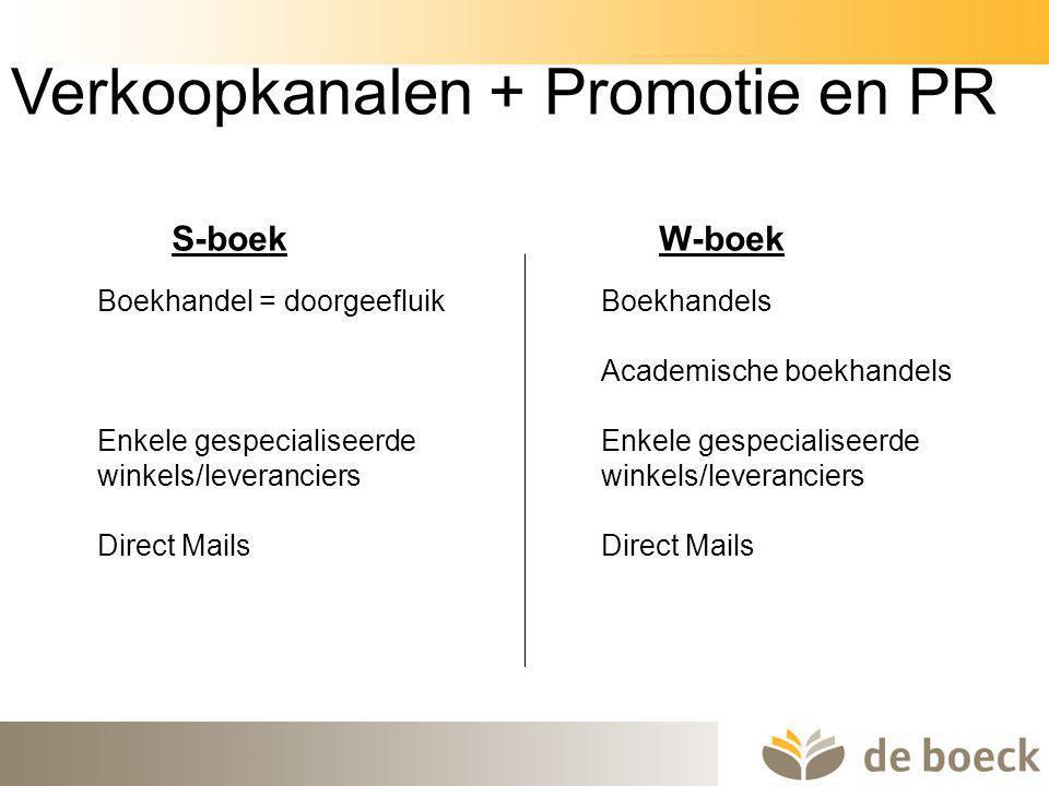 41 Boekhandel = doorgeefluik Enkele gespecialiseerde winkels/leveranciers Direct Mails Verkoopkanalen + Promotie en PR Boekhandels Academische boekhan