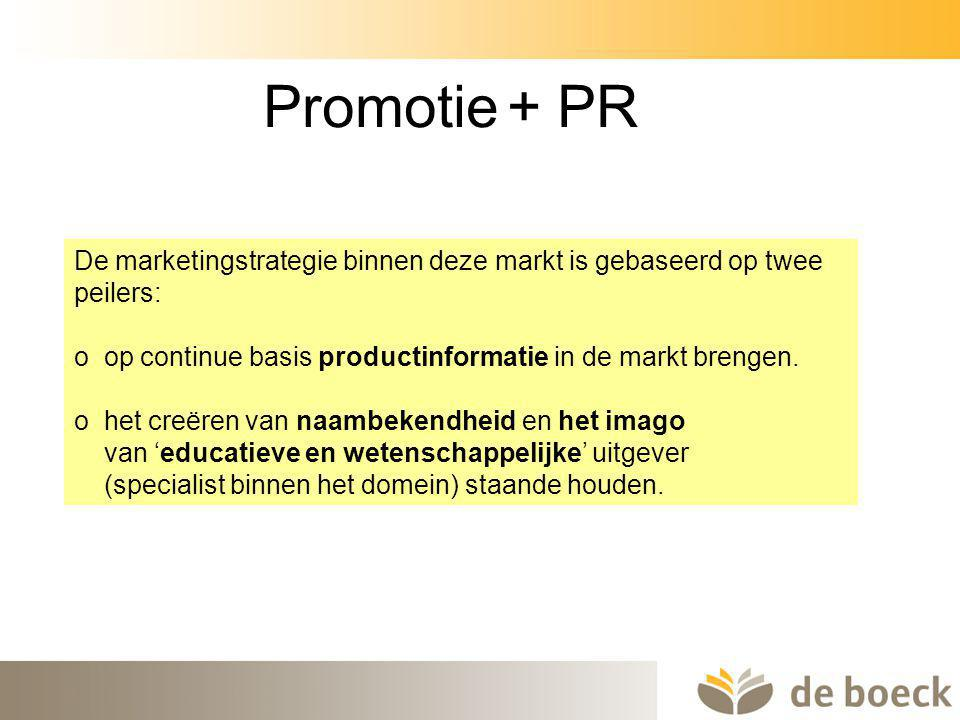 43 Promotie + PR De marketingstrategie binnen deze markt is gebaseerd op twee peilers: o op continue basis productinformatie in de markt brengen. o he