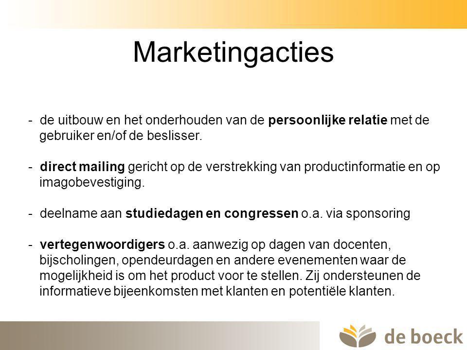 44 Marketingacties - de uitbouw en het onderhouden van de persoonlijke relatie met de gebruiker en/of de beslisser. - direct mailing gericht op de ver
